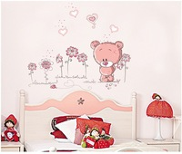 free shipping hot sale new arrival diy 3d cute bear wall sticker CPA FREE modern home wall decor wall paster 2PC/LOT