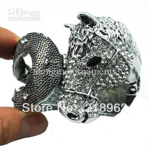(Min.$10-can mix styles)8pcs clear crystal horse head folder bracelets Cowboy Western Jewelry bracelet bangle(China (Mainland))