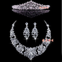 Special offer Crystal wedding bridal jewelry sets Wedding necklace earrings crown combination JU0007 free shipping