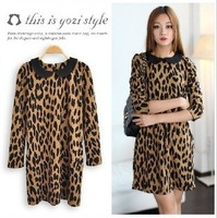Spring 2013 fashion women to restore ancient ways small round neck long sleeve fashion leopard print dress/Free shipping