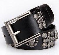Genuine Leather Vintage Punk Mens Belt Cowhide Retro Skull Rivets Belts For Men 2013 Designer Casual Dress Freeshipping TBT0044