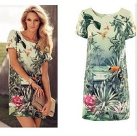 PROMOTION Women's Floral Classic Vintage Women Europe Fashion Women's Painting Landscape Print Floral Chiffon Dress