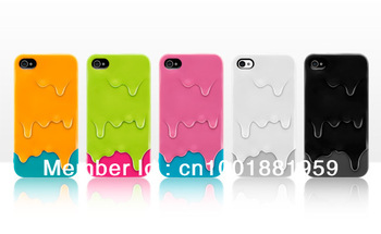 5 pieces , Lovely Sweet 3D Melt ice-Cream hard plastic Case cover for apple iphone 4 4s , free shipping