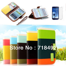 New Hybrid Leather Wallet Flip Pouch Stand Case Cover For Samsung Galaxy S3 I9300 +Protective film(China (Mainland))