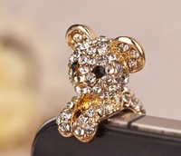 Min.order is $10 (mixed order)free shipping new arrivals little rhinestone bear shaped phone dust plug crystal earphones