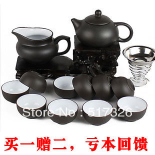 yixing tea set ceramic kung fu cup teapot set tea Buy one get tea towels and folder Free shipping High quality 14sets 50%OFF(China (Mainland))