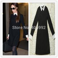 Women Victoria Beckham Dresses Slim Elegant Peter Pan Collar Spring Autumn WInter Bandage Bodycon Dress Plus Size XL