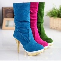 New 2014 Sexy High Heel Women Boots/Designer Mid-Calf High Boots For Women/Brand Plus Size Winter Warm Women Shoes
