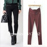Wholesale Z autumn elastic waist zipper elastic roll up hem skinny pants pencil pants legging free shipping