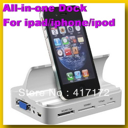 FREE SHIPPING All-in-one Dock for Apple iphone 4s/ipod/ipad 2 with HUB COMBO Charge Stand Station Data Sync HDMI Remote Control(China (Mainland))