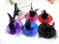 12pcs/lot 10cm Girl Lady Pillbox Hat Hair Clip Flower Feather Shining Paillette Cocktail Party Hair Accessory