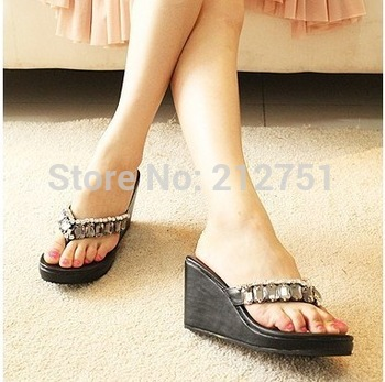 2014 Hot Sell Bohemian Sandal Woman Flip Flops,Ladies' Sandals Black White Rhinestone Beach Women Slippers