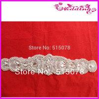 "New Arrive glass stone rhinestone sashes trimmings Silver Beaded Crystal Rhinestone Applique 12"""