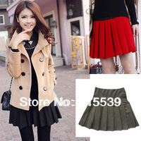 2014 Autumn And Winter Women's High waist Mini Above Knee Skirt Ball Gown Pleated Short Skirt Black Red  and Grey