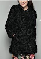 Free shipping Thermal ! black full leather berber fleece fur coat medium-long wool picao