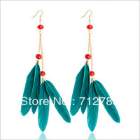 Free Shipping For Min Order $15 2013 Wholesale G411-5 feather earring red crystal feather earrings fashion feather earrings