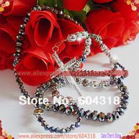 high grade extravagant 6mm*8mm crystal bead rosary,rhinestone rosary,alloy ball rosary free shipping 2pcs/lot