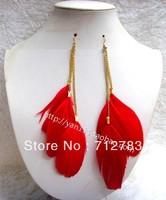 Free Shipping  For Min Order $15 Wholesale Fashion Long Tassels Feathers Earrings Momoko Emoda Dangle Earrings