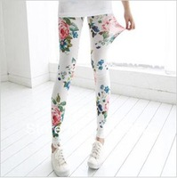 Spring Autumn Flower print cotton women's skinny leggings ladies' sexy Colorful pants stretchy tights Free shipping