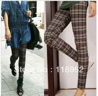 free shipping woman 2013 spring  style plaid ankle length legging sexy slim elastic  pants England College Wind Plaid pantyhose