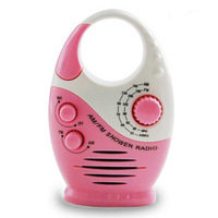 Pink AM FM HANGING SHOWER RADIO WATERPROOF MUSIC RESISTANT BATHROOM Portable