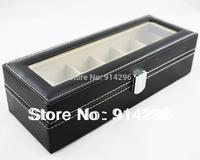 Free Shipping, 1PCS 6 Grid Black Leather Watch Display Slot Case Box Jewelry Storage Organizer