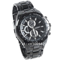 Promotion!CURREN Brand Fashion Round Shaped Quartz Black Steel Wrist Watch for Male,Free shipping