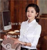 women OL long-sleeved shirt metal buckle female Puff blouse S-XXL free shipping