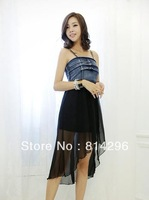 Free    shipping    Cowgirl chiffon dress 3018 splicing condole belt