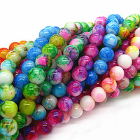 6mm 8mm 10mm Mix Color Round Shape Chunky  Pendant Beads Chic Loose Glass Crackle Beads for Jewelry Charms Spacer Beads HB439