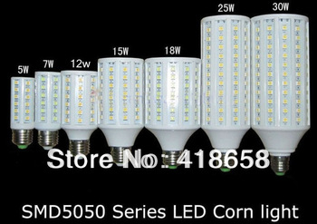 7W/10w/15w/25w/30w E27 SMD 5050 Warm White Energy Saving Corn Lamp Lights Bulbs AC220V free shipping