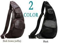 HK POST Free shipping genuine bull leather cowhide men's boy's Sling bags backpacks unbalance shoulder bag  3011