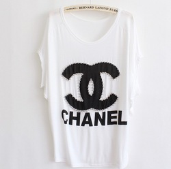 2013 Fashion Women Beaded Loose Bat White Short-Sleeve T-shirt(China (Mainland))