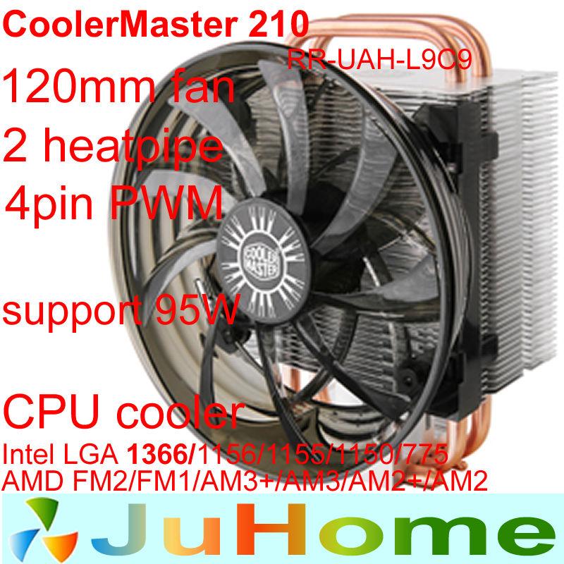 12cm fan 4pin PWM 2 heatpipe Intel LGA1156/1155/1150/1366/775 AMD FM2/FM1/AM3+/AM3/AM2+/AM2 CPU cooler CPU fan CoolerMaster 210(China (Mainland))