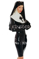 HOT sale sexy latex Nuns Queen uniform clothing exotic rubber hood latex tight dress,mid-skirt