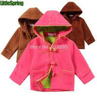 Retail in stock! 2014 New Children hoodies Kids girls cotton hooded autumn winter warm coat LittleSpring GLZ-S0351 XLS
