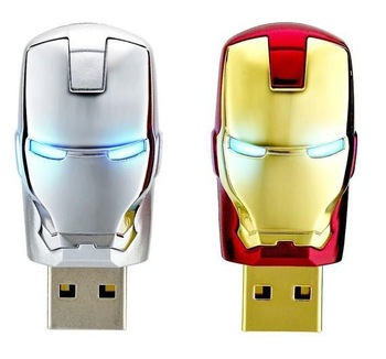 Lron Man LED USB 2.0 Flash Pen Drive Disk Memory Sticks 4GB 8GB 16GB 32GB 64GB Free Shipping