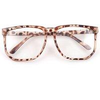 Large Square Clear Lens Leopard Frame Wayfarer Nerd Glasses 03