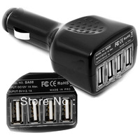 4 Port USB Car Charger 2.1A Adapter For Apple i Pod  i Pad2 3 i Phone 3G 4G 4S