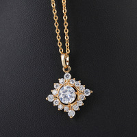 Ladies GP 18K Gold Filled Cubic Zirconia Zircon Pendant Necklace D0039