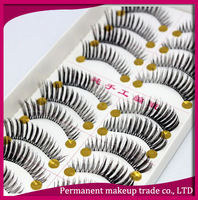 Wholesale Taiwan handmade false eyelashes naturally bushy models end of eye elongated transparent stems eyelash TWF38