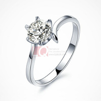 LQ Fine Jewelry Sterling 925 Silver Ring with Six Claw Ring Holder Prong Setting Swiss Diamond Myth of Love Finger Rings
