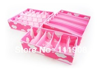 HOT SELL 3pcs/set protable non-woven storage boxes for socks,bra,briefs,foldable underwear storage case.