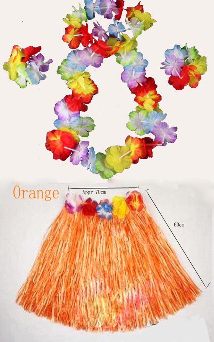 6 set/lote grátis frete Hawaii flor 4 pcs + hula skite1pcs crianças ' e adulto hula havaiana saia de grama e guirlanda longo 60 CM(China (Mainland))