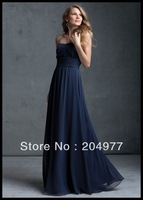 Sweetheart neckline Floor Length Off The Shoulder Ink Blue Chiffon Ruched Bridesmaids Dresses B307