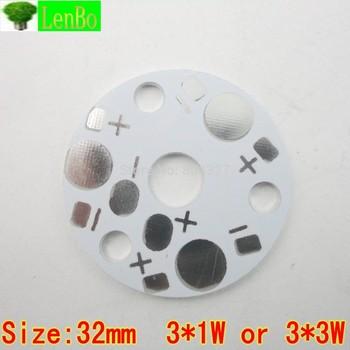 3* 1W / 3* 3W 32mm Size LED PCB  Aluminum base plate Circuit board  PCB LED board for led high power lamp 100pcs/lot