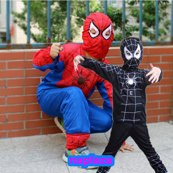 Free shipping spider man costume spiderman suit spider-man Cosplay costume child spider man Halloween costume Black ,Red(China (Mainland))