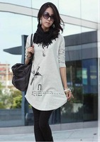 Nice quality 2014 fashion casual plus size loose tops & tees shirt women long sleeve, white/black/gray, M/L/XL/XXL