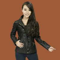 2013 spring new arrival women leather clothing outerwear slim leather jacket short design genuine leather female clothing