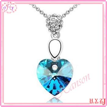 Fashion rhinestone necklace Full Austria crystal peach heart pendant necklace free shipping NL96